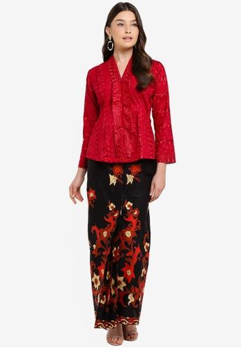 Embroidery Kebaya with Batik Skirt from Seleksi Akma in Red