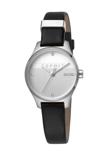 Esprit silver ESPRIT [Essential Glam] 28mm Black Calf Leather Strap Women Watch [ES1L054L0015] 1DA70AC6EE866BGS_1