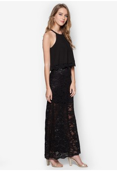 Double Layer Lace Maxi Dress
