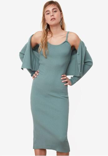 Trendyol green 2-Piece Knit Cardigan & Midi Dress Set 5A3BAAA0E45AADGS_1