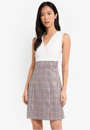 ZALORA white and multi V Neck Mix Fabric Dress 2FA1CAA1FAC005GS_1