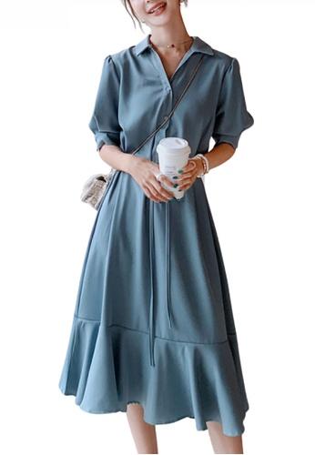 HAPPY FRIDAYS blue Chic Puff Sleeve Flare Dress JW OP-NR112D 0310FAAA813540GS_1
