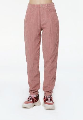 London Rag pink High Waist Corduroy Pants 5C136AAC2C318FGS_1