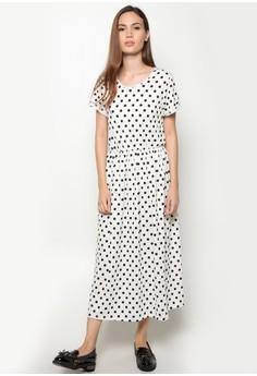 zoe garterized dress-white polka