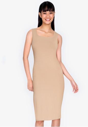 ZALORA BASICS beige Square Neck Ribbed Dress with Slit AEF20AAC961E7FGS_1