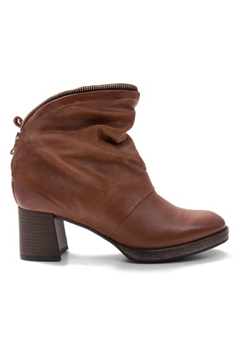 Shu Talk brown Zippy Wrap Blocked Heel Boots SH397SH0GXHVSG_1