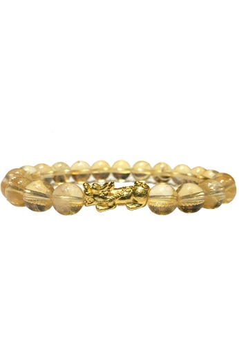 LITZ yellow and gold [SPECIAL] LITZ 999 (24K) Gold PiXiu (0.70g+/-) with Yellow Crystal Bracelet 914B6ACBE52B00GS_1