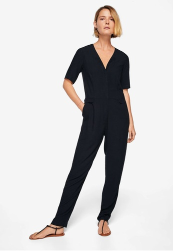 Mango blue Long Chest-Pocket Jumpsuit B0F03AAB9B3A02GS_1