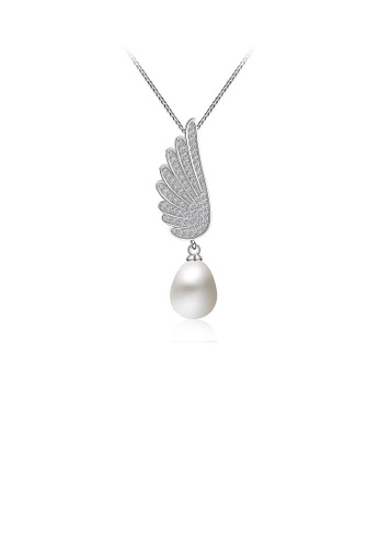 Glamorousky white 925 Sterling Silver Mother's Day Angel Wings Pendan with Fashion Pearls and Necklace D551EAC863BA01GS_1