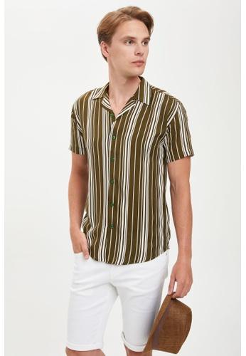 DeFacto green Man Woven Top Short Sleeve Shirt 8D8CCAA57231A7GS_1