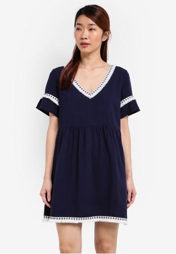 Something Borrowed navy Fringe Trim Babydoll Dress B12F2AA1BAC0FAGS_1