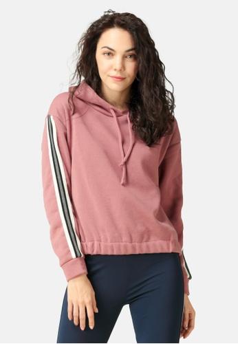 London Rag pink Sleeve Tape Hoodie C3369AAC75FF6FGS_1