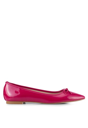 Velvet pink Faux Patent Leather Point Toe Flats 9DAFDSHF5462CAGS_1