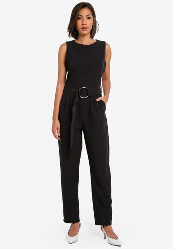 Dorothy Perkins black Crepe D-Ring Jumpsuit DO816AA0SB6DMY_1