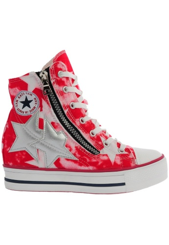 Maxstar C2 30 7 Holes Denim Single Line White Platform High Top Sneakers MA164SH46CIJSG_1