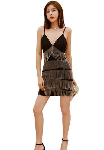 Sunnydaysweety black Sexy Low-Cut Sling Fringed One Piece Dress A21022247 914DCAAA59AF27GS_1