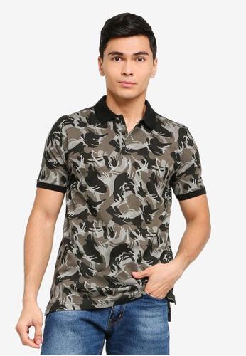 27224bb43f0bb1 Buy UniqTee Camo Print Slim Fit Polo Shirt Online on ZALORA Singapore