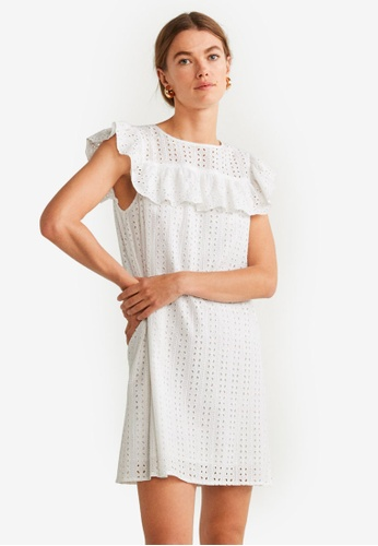Mango white Ruflled Open-Work Dress FBCCFAA47F26A5GS_1