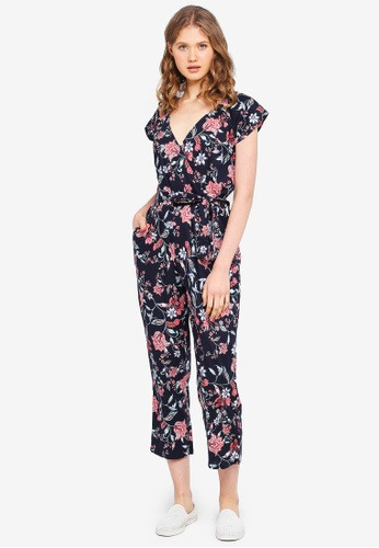 Dorothy Perkins navy Navy Floral Print Jumpsuit 40770AA906B990GS_1