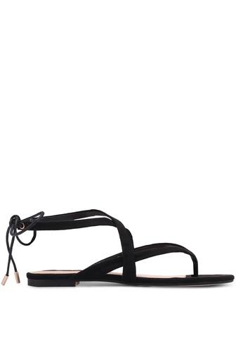 ZALORA black Tie-Back Strappy Sandals 1D87FSH3C95E47GS_1