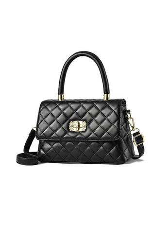 Lara black Women's Elegant Rhombic Embossed Leather Magnetic Buckle Handbag Shoulder Bag - Black D44DCAC1CB1B0EGS_1