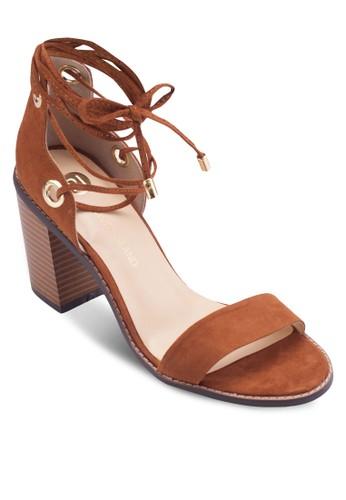 麂皮繫帶繞踝esprit tw粗跟涼鞋, 女鞋, 鞋