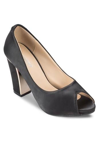 露趾布料粗跟鞋, 女鞋esprit outlet 家樂福, 魚口鞋