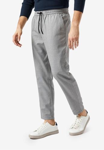 Burton Menswear London grey Checked Tapered Joggers C8DC4AAE5AB5F6GS_1