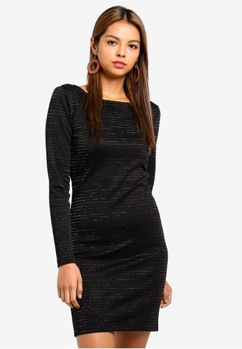 JACQUELINE DE YONG black Glitter Short Dress 93A5EAA7677E5FGS_1