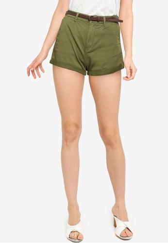 Springfield green Belted Chino Shorts FB412AAF644B7FGS_1