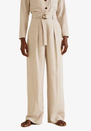 Mango beige Buckle High-Waist Trousers 2F1BFAA62D7B70GS_1