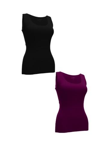 Chelyne black and purple Chelyne Singlet Atasan XXL 024 Bahan Seamless Lycra Daleman/Camisole Harian (Isi 2 pcs) B36FDAA09A00E0GS_1