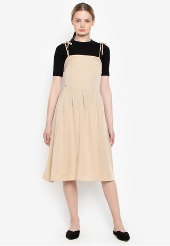 Susto The Label beige Raven Shoulder Tie Dress 31925AA4D8108FGS_1