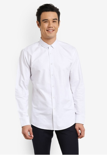 ZALORA white Slim Fit Oxford Long Sleeve Shirt 1F02BAA760C7A0GS_1