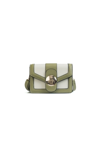 Lara white and green Women's Front Flap Satchel 335A2AC534EC1FGS_1