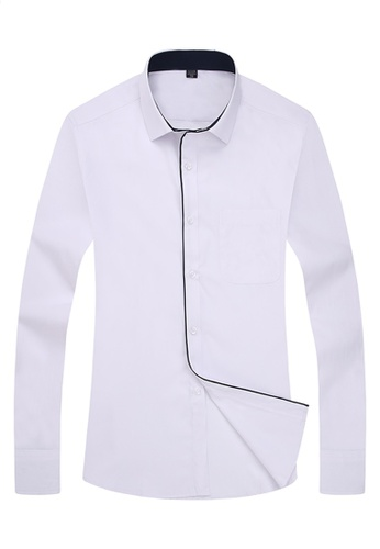 Trendyshop white Slim Plain Dress Shirt TR353AA0F1Z8SG_1