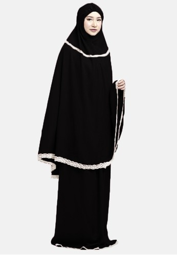 zelena black Praying Set Mukena Maryam - Black 98863AA1A9CC37GS_1