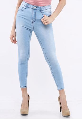 Hotkiss blue Denim Mid Waist Long Pants Slim Fit D72F6AA5467083GS_1