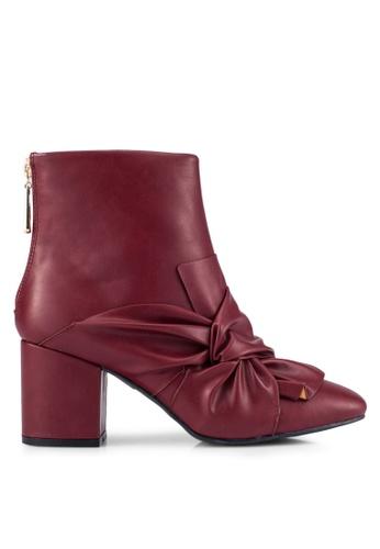 ZALORA 紅色 飾帶 踝靴 0066AZZBC3368FGS_1