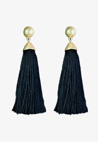 Zaryluq black Long Tassel Earrings in Ink F9D02AC2B65201GS_1