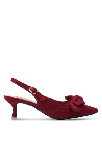 Velvet red Slingback Ribbon Heels 92F90SHE49018BGS_1