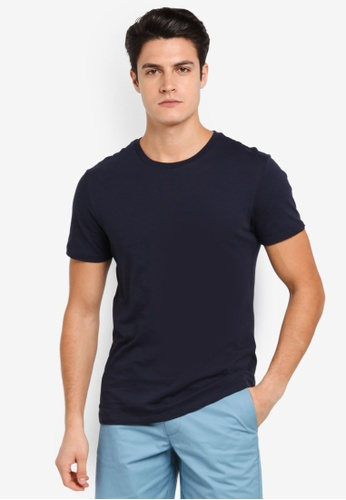 Burton Menswear London 海軍藍色 Navy Crew Neck T-Shirt BU964AA0T1HFMY_1