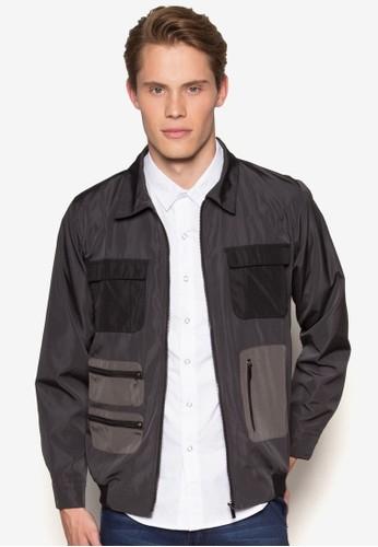 拼色口袋哈靈頓夾克,esprit hk store 服飾, 外套