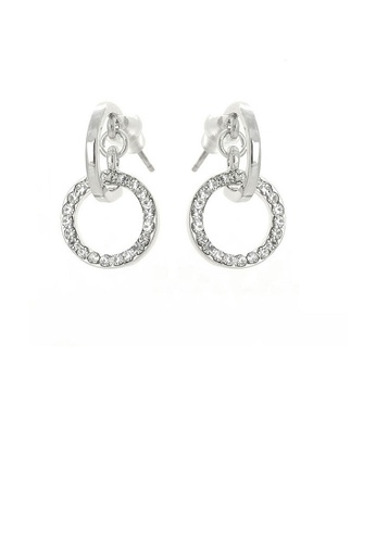 Glamorousky silver Elegant Round Earrings with Silver Austrian Element Crystals FF37DACD37B623GS_1