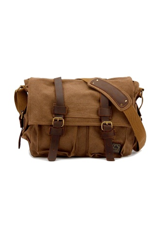 A FRENZ brown Large Legend Military Canvas Messenger Satchel Bag 2BEF9ACF0024DAGS_1