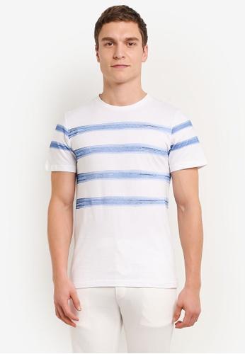 ZALORA white and blue Printed Brush Strokes Tee 94626AA522FDA0GS_1