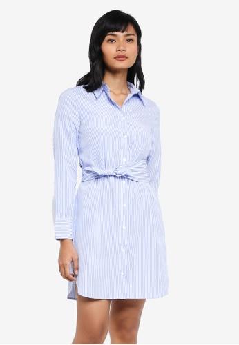 Something Borrowed blue Waist Tie Shirt Dress 1580EAAC6F3237GS_1