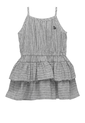 Kingkow grey Kingkow Logo Striped Dress 1.5-4 years CDF94KA34CA04FGS_1