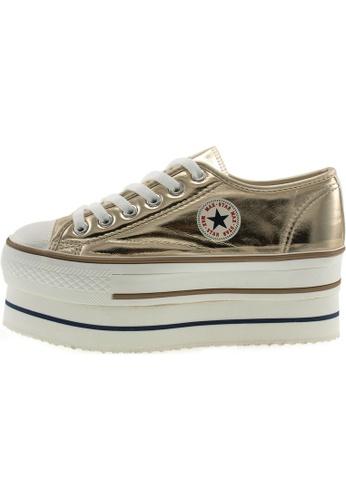 Maxstar 金色 新款韩国鞋CN9-6H-TC時尚皮革布混合女金色 US Women Size MA345SH76HFRTW_1