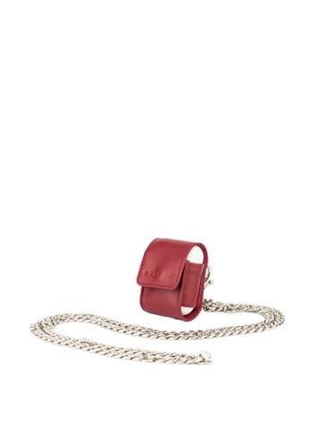 Starke Leather Co red STARKE's Bop Roe AirPods Leather Case Long Chain Maroon E5249ACEB44718GS_1